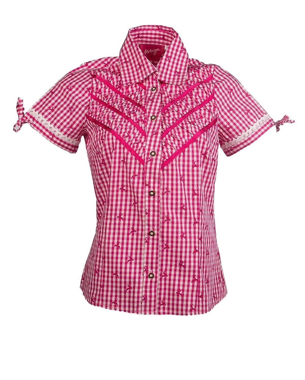 MAZE Hemd, Damen Franziska Damen Trachtenbluse, tailliert, Knopfleiste, kariert, Spitze an Ärmel, XS-XL, pink