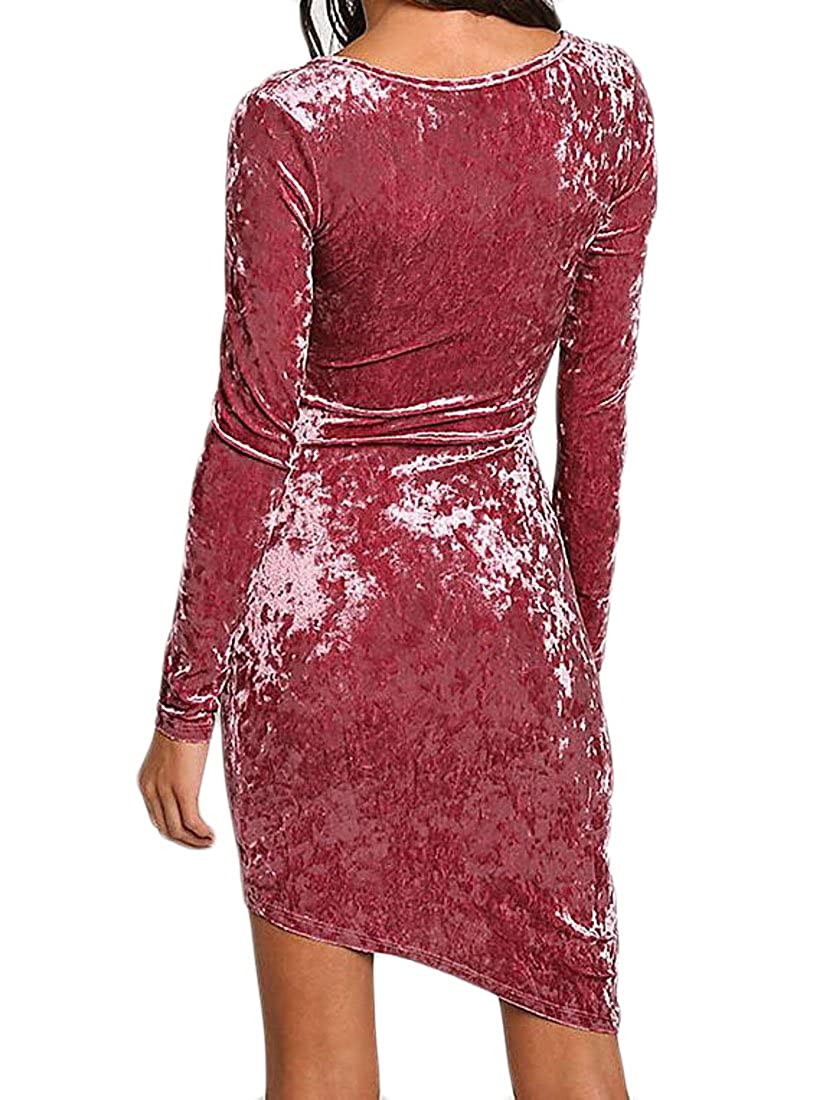 FLCH+YIGE Women Casual V Neck Long Sleeve Irregular Bodycon Velvet Party Wrap Dresses