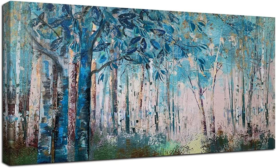 Original signed Acrylic Painting Sunset Trees Woods 6 x 4