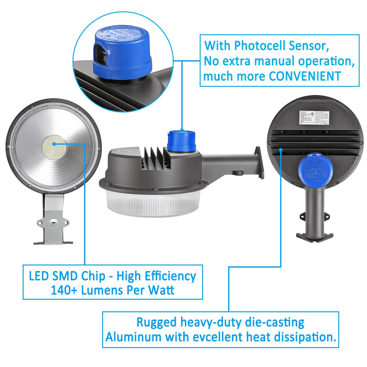 70W LED Barn Lights LEDMO - with Monuting Arm 9100lm Dusk to Dawn LED Outdoor Security Flood Lights with Photocell Area Lighting 5000K Daylight LED Yard Lights Brightest Waterproof by LEDMO (Image #3)