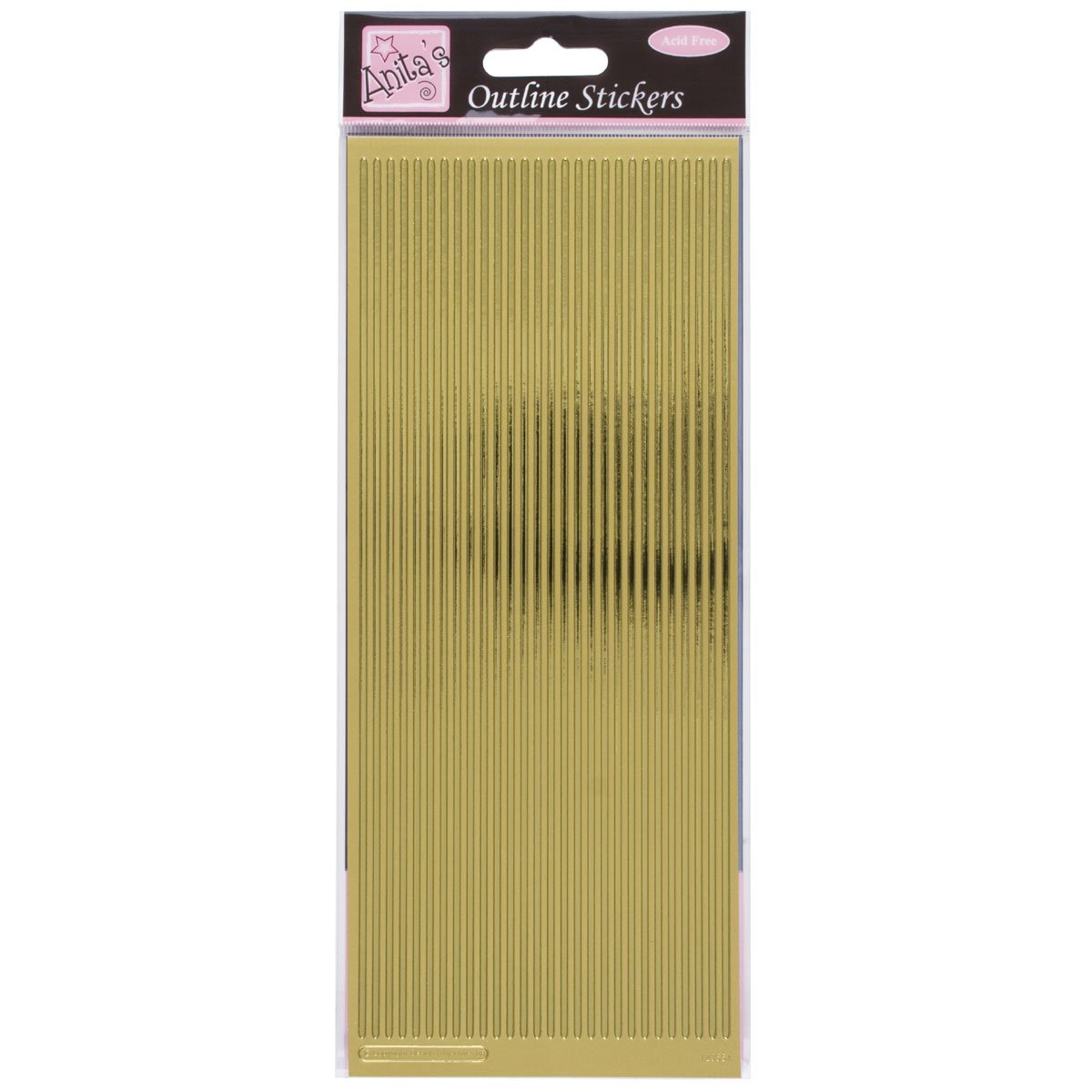 Anita's Straight Line Borders Outline Stickers - Gold docrafts 8101016