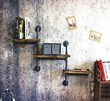 Étagère De Décoration Murale LOFT Rack De Décoration Murale LOFT Industrial  Wind Retro Iron Iron Pipe