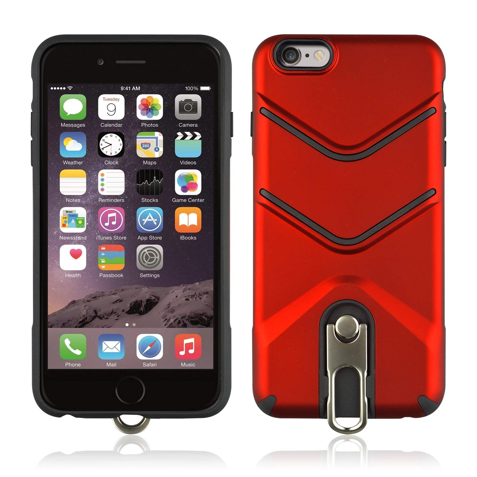 Thinnest iPhone 6 Plus Case Full-Body Rugged Military Grade Protective Cover with Built in Kickstand [Thin Fit] Compatible with iPhone 6S Plus Case Kickstand (2, iPhone 6S Plus) by 22miter