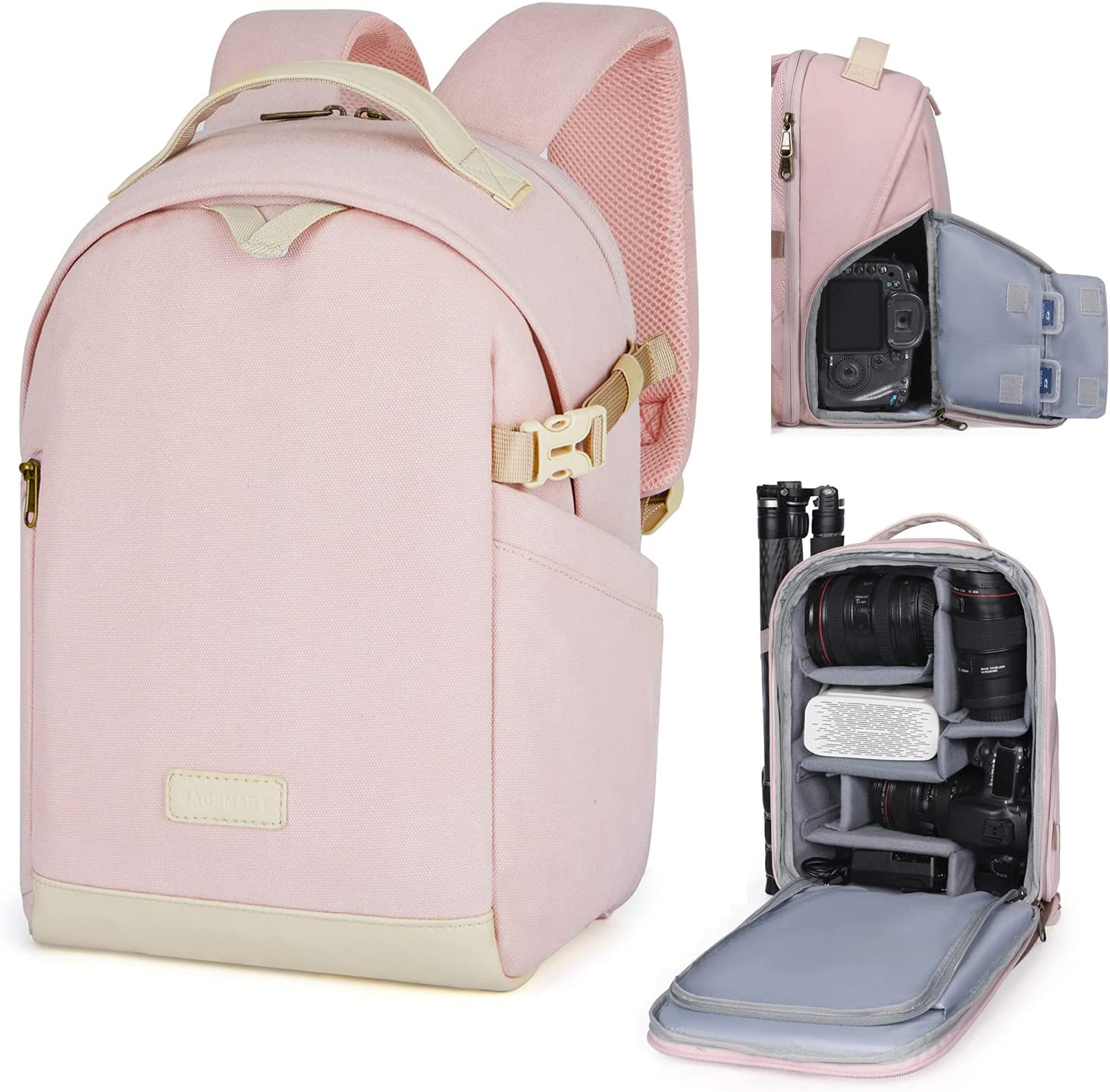 BAGSMART Camera Backpack, DSLR SLR Canvas Camera Bag Fits 13.3 Inch Laptop Water Resistant with Rain Cover Tripod Holder,for Men Women,Canvas Pink