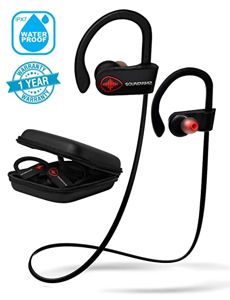 be7da83bd89 Wireless Bluetooth Running Headphones - SoundWhiz Turbo. IPX7 Sweatproof Workout  Headphones w/Mic.