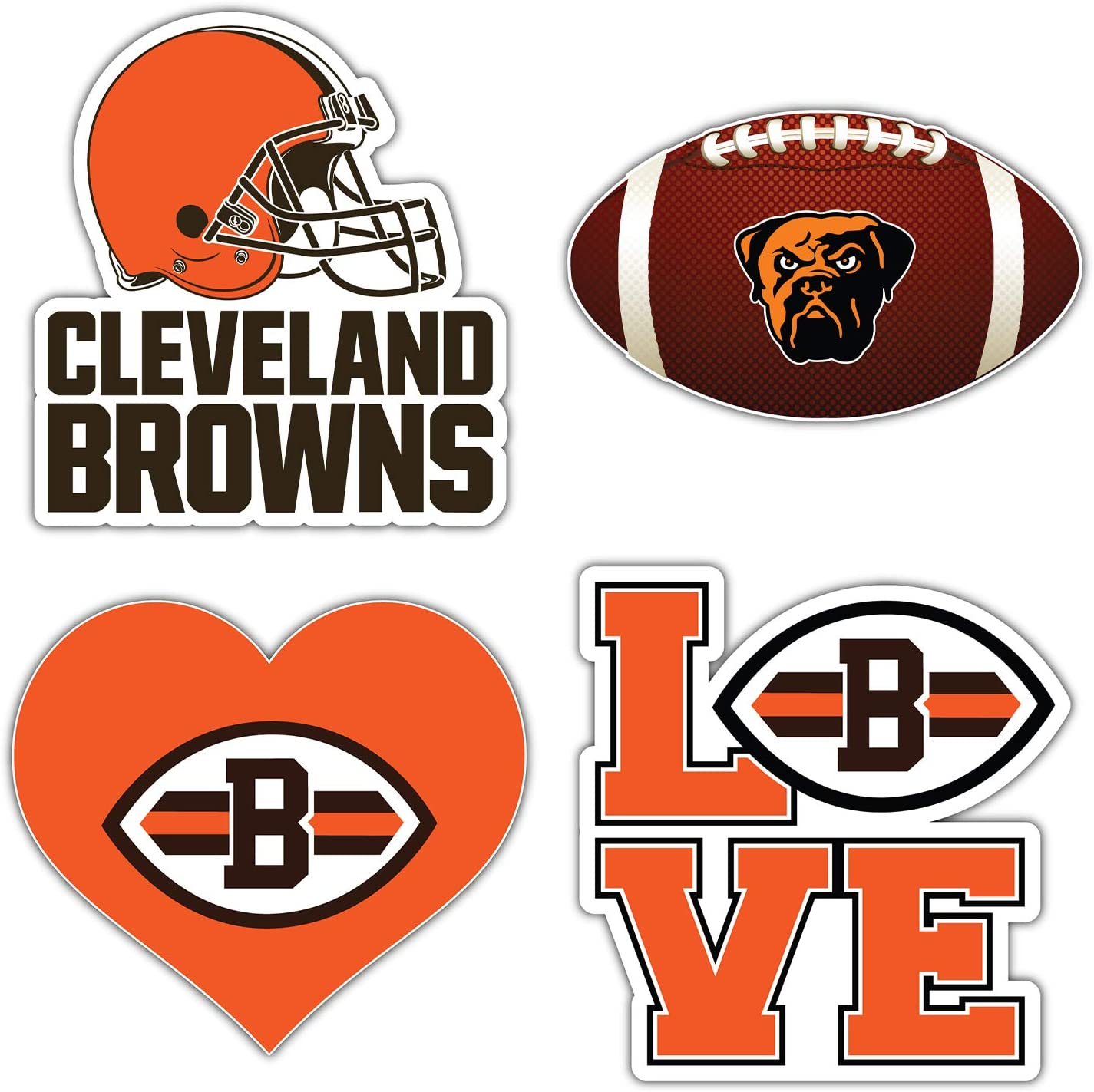 qualityprint Cleveland Browns Set of 4 NFL Football Car Bumper Stickers Decals 5 Longer Side