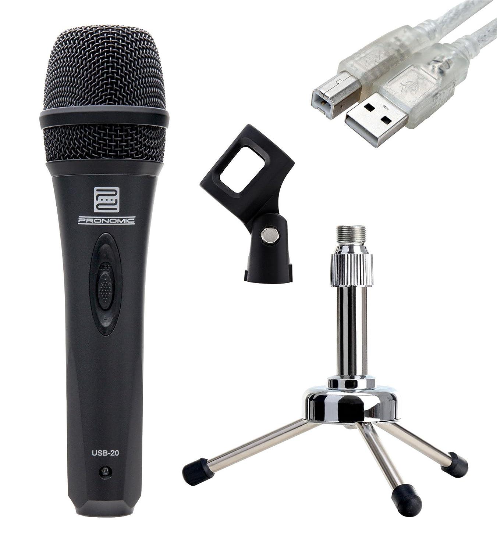 Pronomic USB-20 USB micrófono SET incl. soporte de mesa para ...