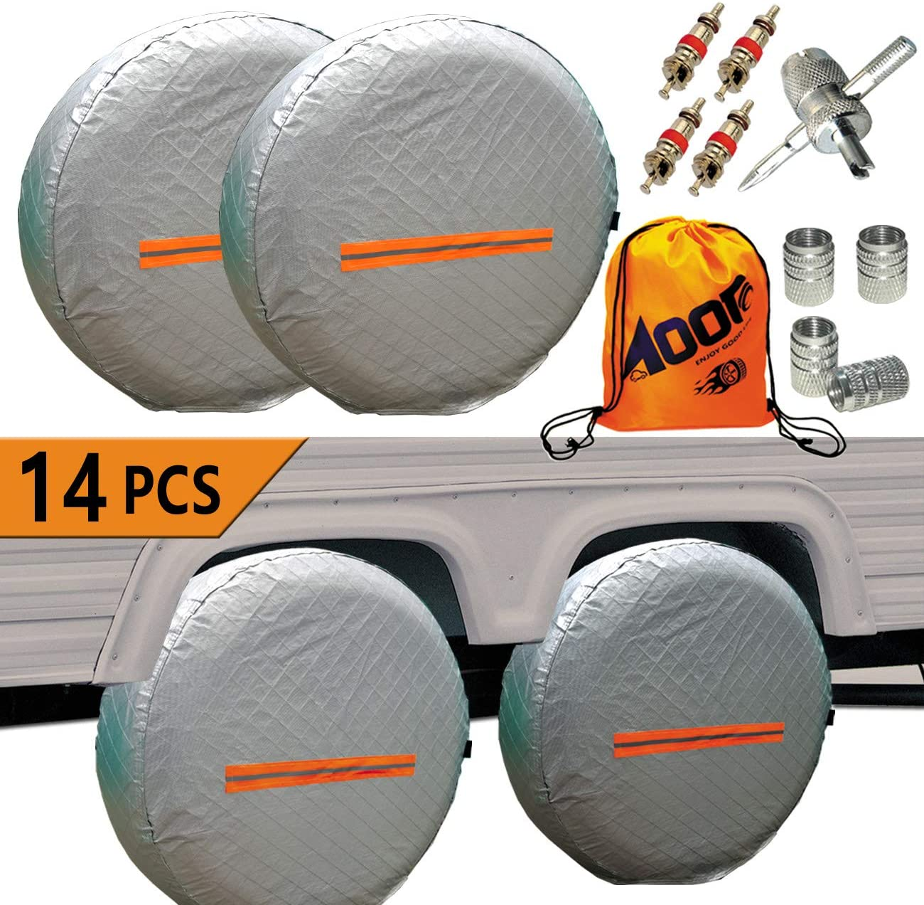 Set of 4 Tire Covers Tire Protectors,Waterproof Aluminum Film Tire Sun Protectors//Weatherproof ,Fits 26 to 29 Tire Diameters Black