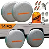 Aootf Tire Covers for RV Wheel -Trailers Tire Covers Set of 4 and Tire Tools 14 Sets for Motorhome Wheel Covers RVS,Boat,Wate