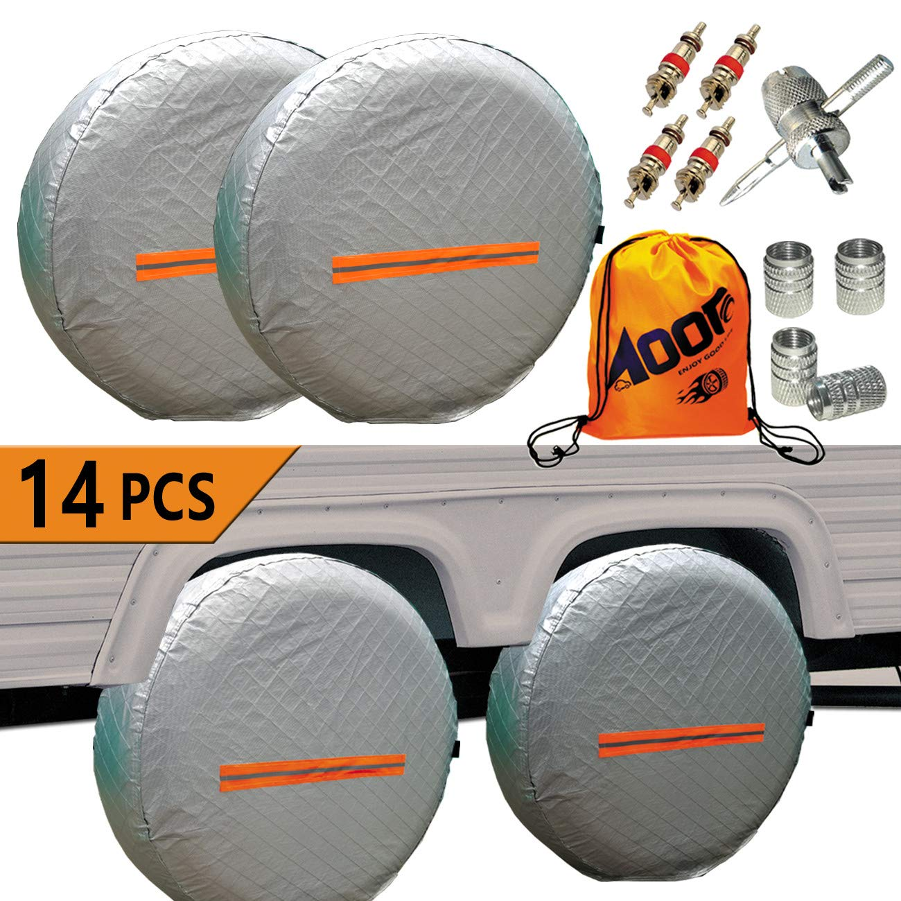Tire Covers for RV Wheel -Trailers Tire Covers Set of 4 and Tire Tools 14 Sets for Motorhome Wheel Covers RVS,Boat,Waterproof Reflective Safety Tire Protectors Fits 26'' to 29'' Wheels (4PCS) by Aootf