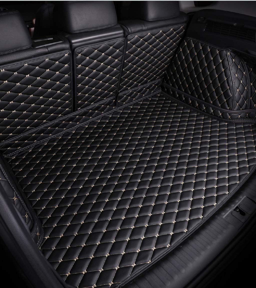 Bonus-Mats Custom Fit All-Weather Full Coverage Waterproof Car Cargo Liner Trunk Mat for Volkswagen VW Atlas 2017-2020 7 Seat Black with Gold Stitching