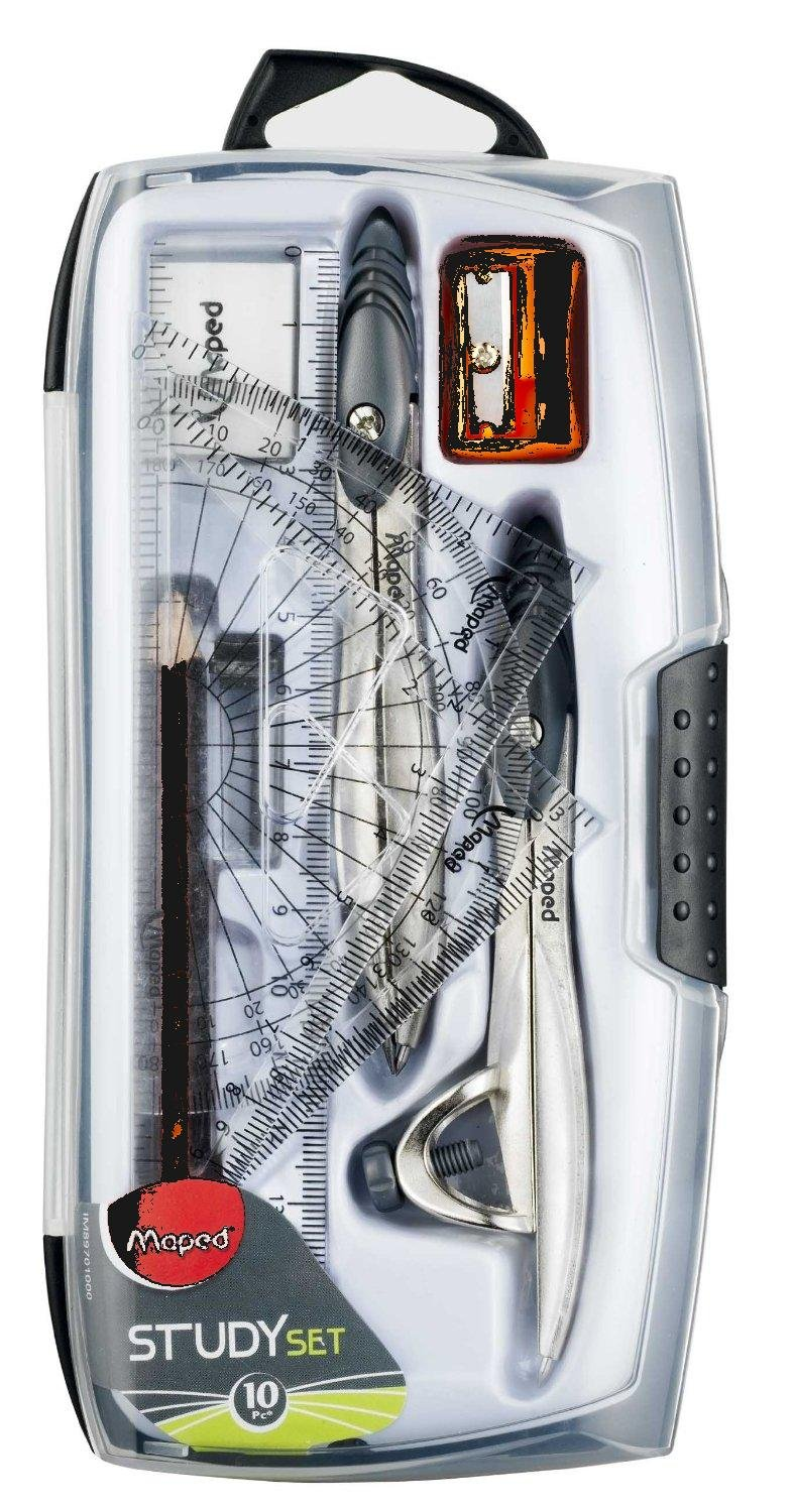 Study 10-Piece Compass and Geometry Kit with Shatterproof Box, Assorted Colors (897010) (2) by Maped (Image #1)