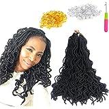 "Wavy Faux locs 20"" ( 6 pieces ) Synthetic Crochet Braids Braiding hair Faux Locs Dreadlocks Braids (Black)"