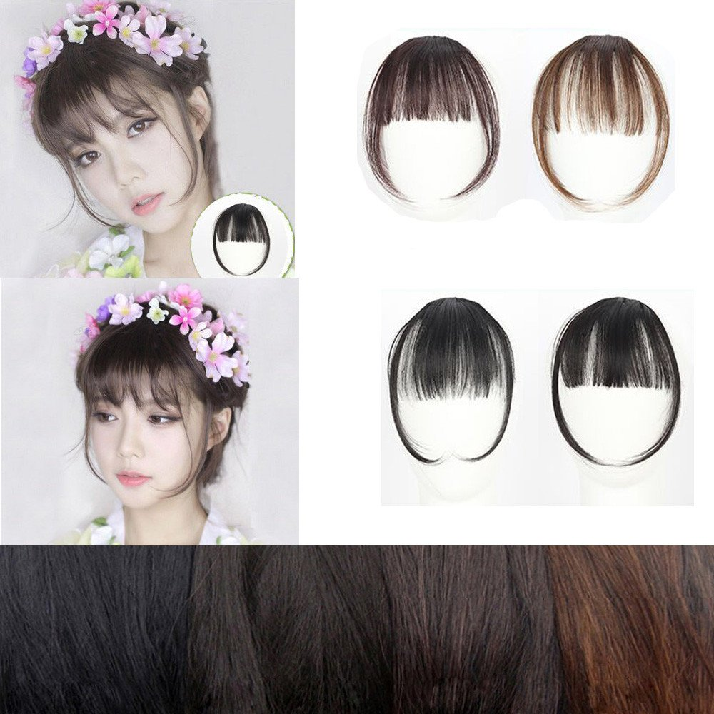 Pretty Girls Clip On Clip in Front Hair Bang Fringe Hair Extension Piece Thin B ❃ Little Story Clearance ❃