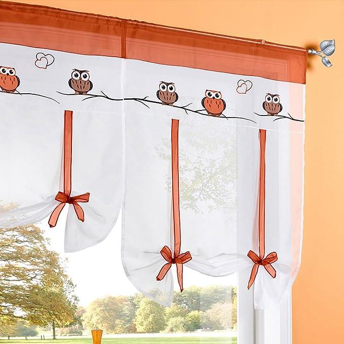 Hoomall D/écoration Fen/être Int/érieur Rideau Romain Voilage avec Ruban pr Chambre Balcon Broderie Hibou Blanc 60cmx140cm 1 PC