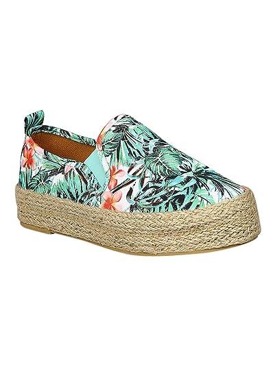 671d45a1a63e2 Alrisco Women Fabric Round Toe Espadrille Slip On Flatform Sneakers RC14