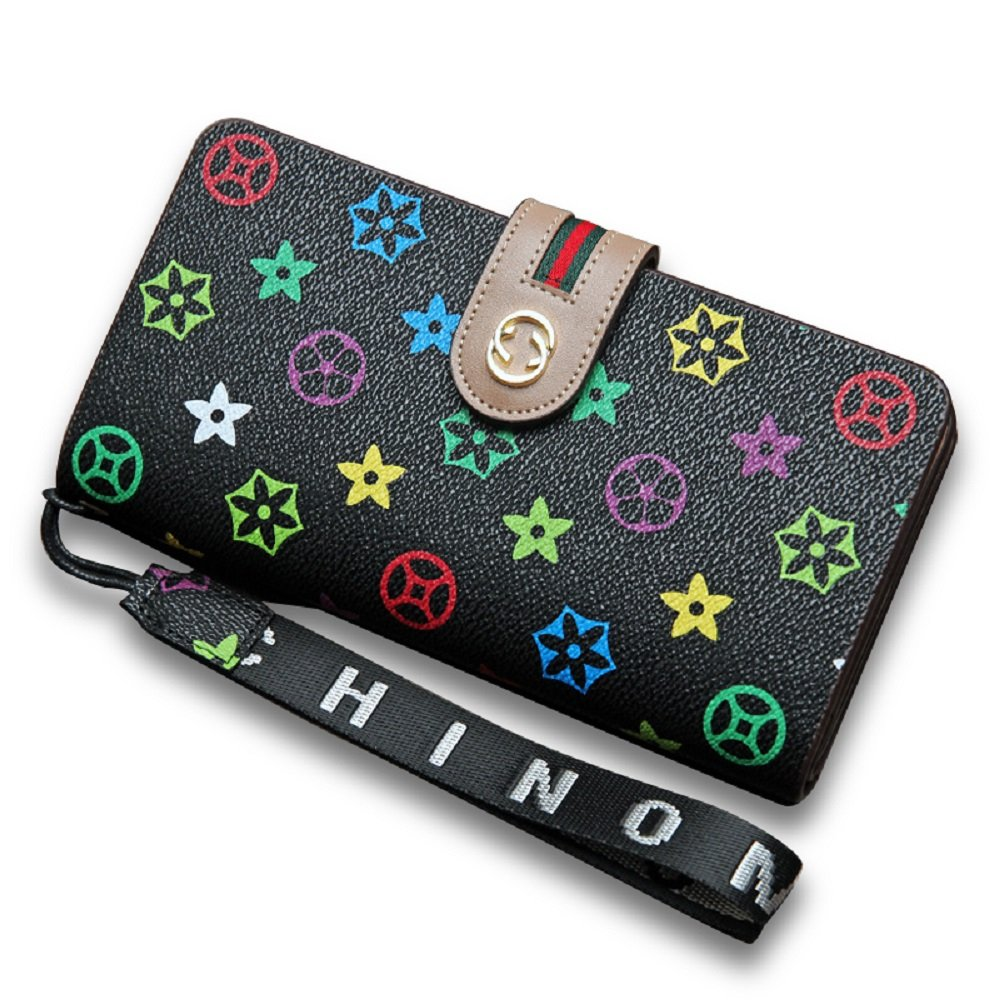 Van Persie Women's Long Bi-fold PU Leather Purse Zipper Card Organizer Fashion Wallet(Black)
