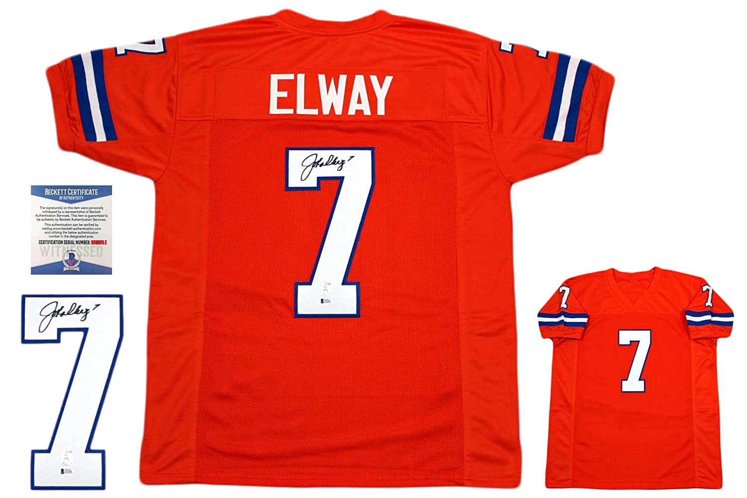 John Elway Autographed SIGNED Jersey - Beckett Witnessed Authentic - Orange