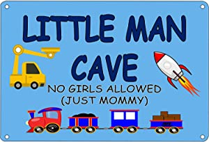 SUEPER Funny Boys Bedroom Door Sign Metal Tin Sign Wall Decor Little Man Cave No Girls Allowed Just Mommy