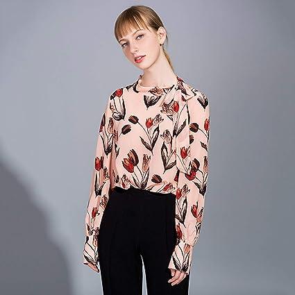 AIBAB Camisa De Seda Vintage Ropa 100% Seda Seda Textura Mujer. Camisa De Manga Larga Camisa De Gasa Primavera Y Verano: Amazon.es: Deportes y aire libre