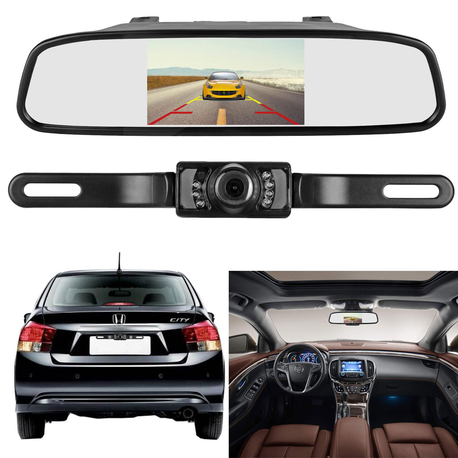 Emmako Backup Camera and Mirror Monitor Kit 4.3 Display Licence Plate Camera System Only Wire Single Power Rear View/Full Time View Optional With 7 LED Night Vision Waterproof For Car