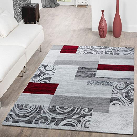 Tapis Abordable Patchwork Design Moderne Tapis pour Salon en Gris Rouge  Blanc, Dimension:120x170 cm
