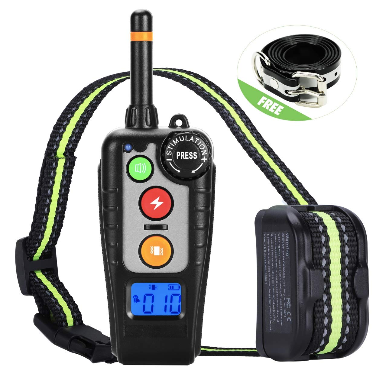 Dog Training Collar,Rechargeable Shock Collar and E-Collars up to 2000FT Remote,3 Color 3 Training Modes Beep/Vibration/Shock,Rotary Dial adjust Intensity 100% Waterproof Training Collar for all Dogs. by JIALANJIUYU