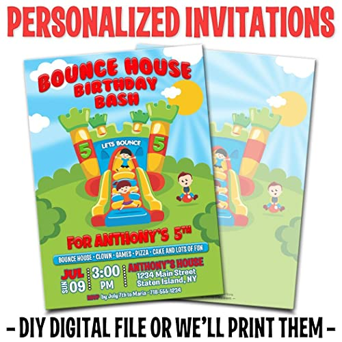 Amazon Custom Personalized Bounce House Birthday Invitations