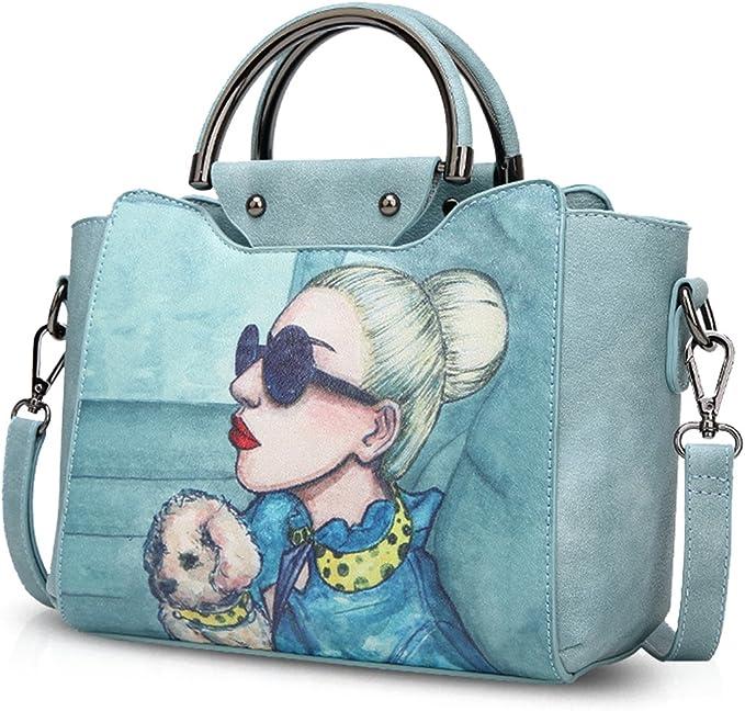NICOLE&DORIS Elegante Tote Bolsos de Mano para Mujer Monederos Bolso Crossbody Mujer Bolso de Bandolera Bolsa PU Azul Claro