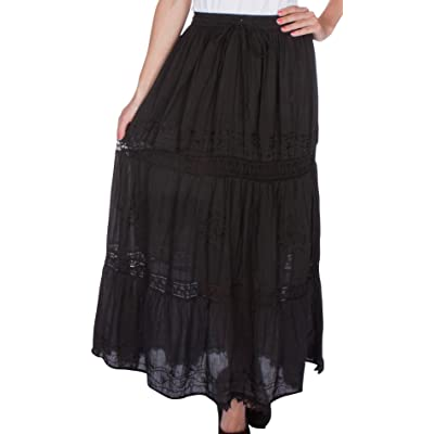 AA254 - Solid Embroidered Gypsy/Bohemian Full/Maxi/Long Cotton Skirt - Black/One Size at Amazon Women's Clothing store: Women S Long Skirts