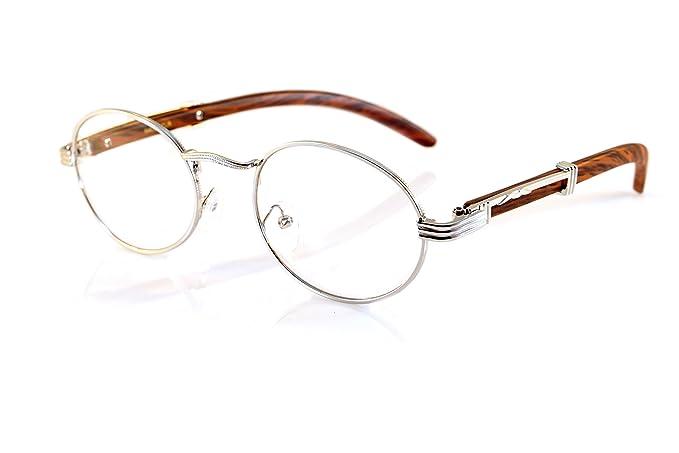 ee4098397d FBL Vintage Oval Clear Lens Metal   Wood Feel Eyeglasses A103 (Silver   Brown)