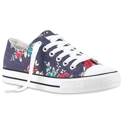 Damen Sneakers Blumen Freizeit Denim Sneaker Low Stoff Turn Schuhe 114362  Denim Blue Blumen 36 Flandell 9b402ab8fc