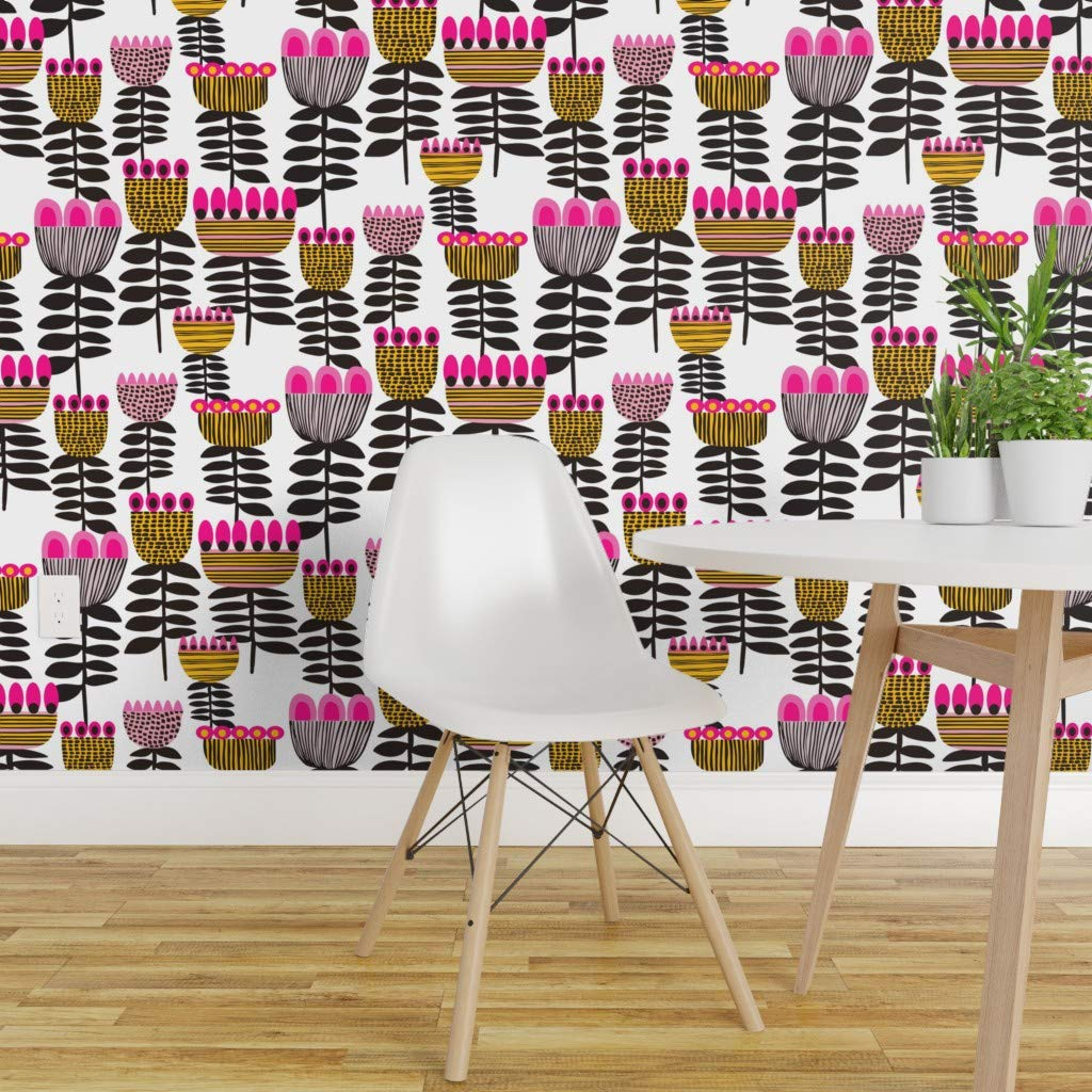 Spoonflower Peel And Stick Removable Wallpaper Mod Tulips Mid