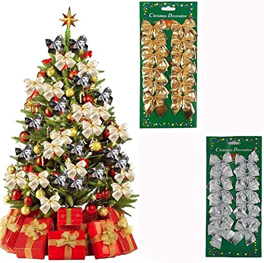 24pcs//set Bowknot Ornament Party Hanging Decoration Christmas Tree Decor Wedding
