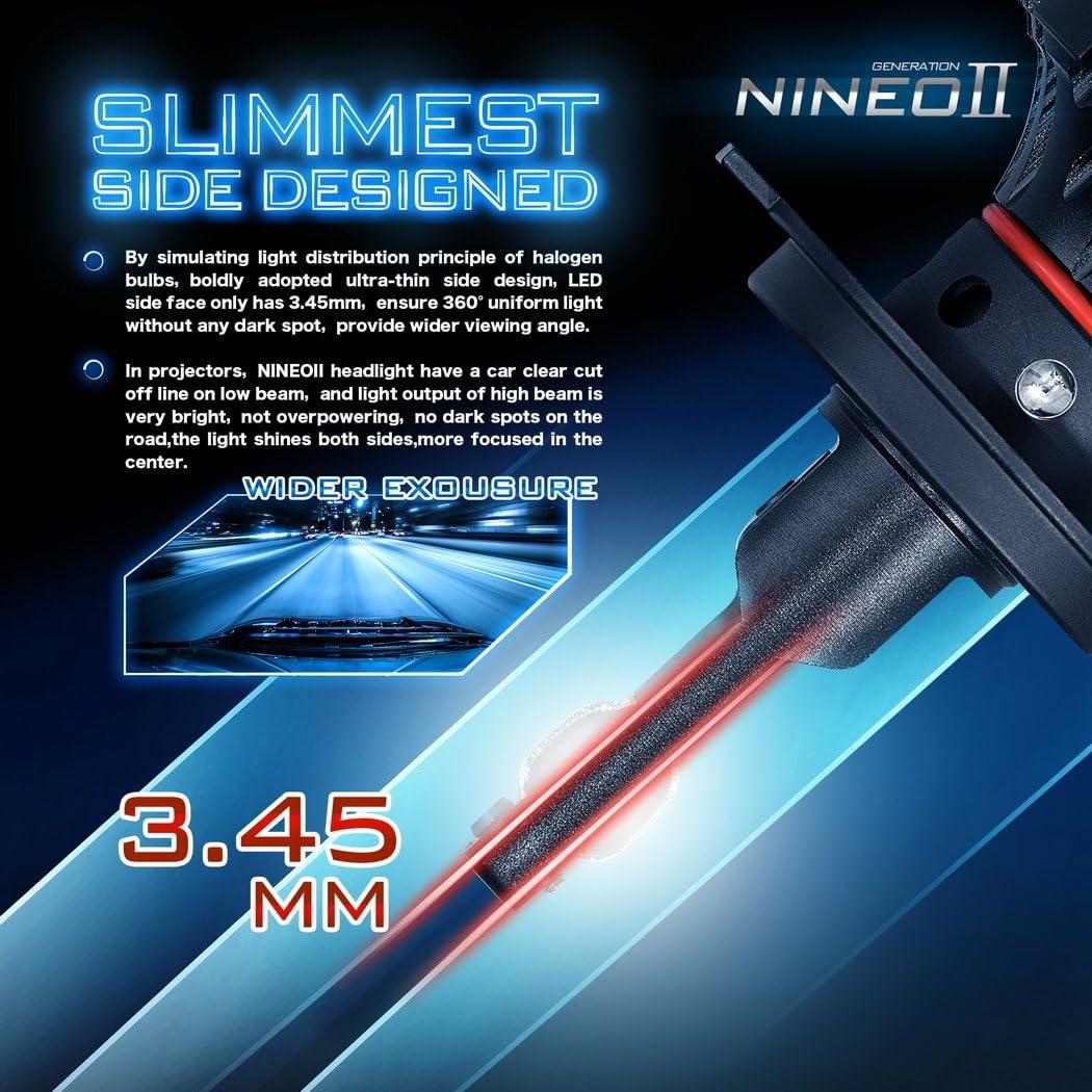 12000Lm 6500K Xenon Bianco Kit di Conversione 360 Gradi Regolabili fascio Angolo NINEO H11 LED Faro Lampadine CREE