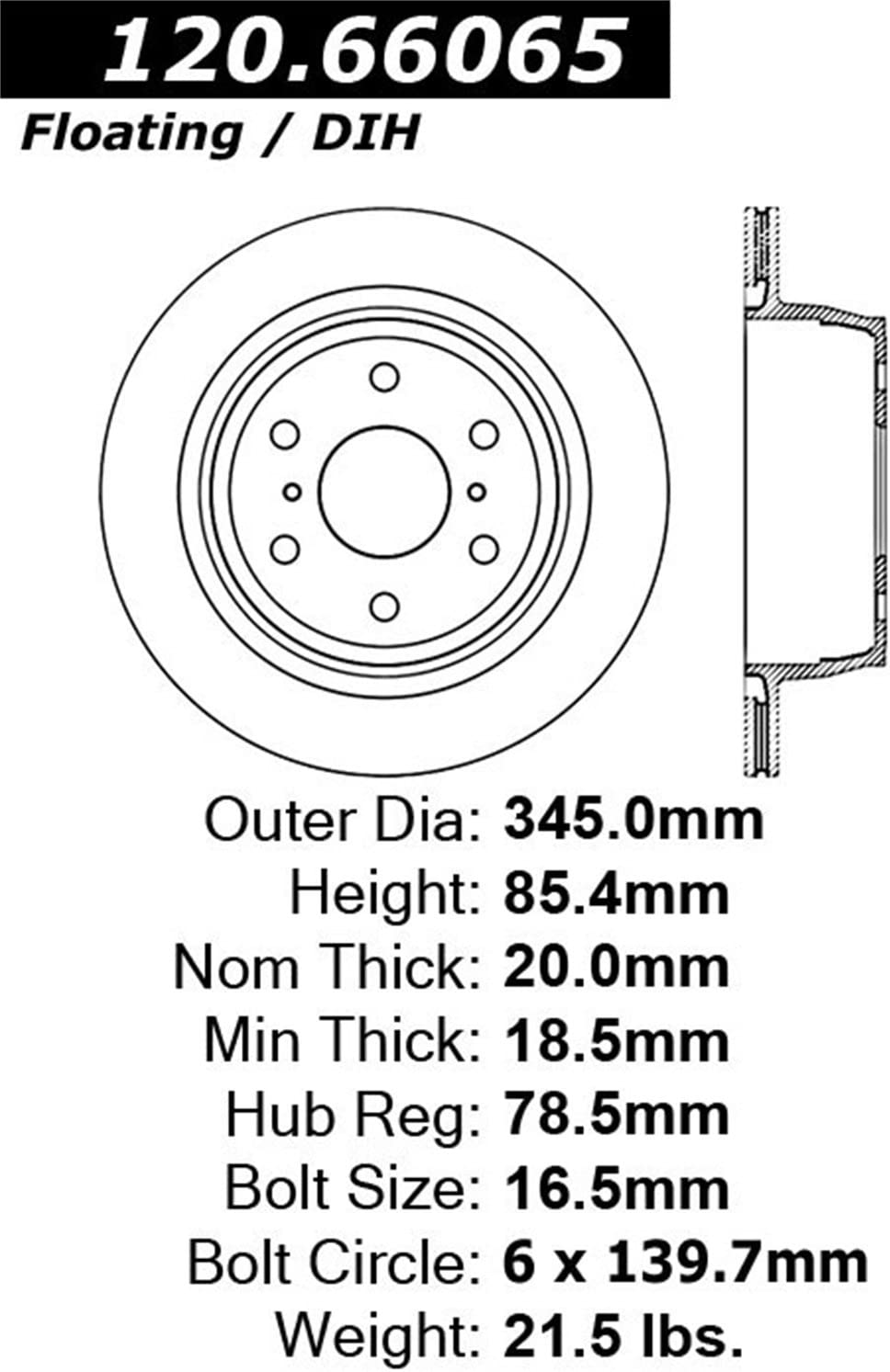 Rear Left StopTech 127.66065L Sport Drilled//Slotted Brake Rotor 1 Pack