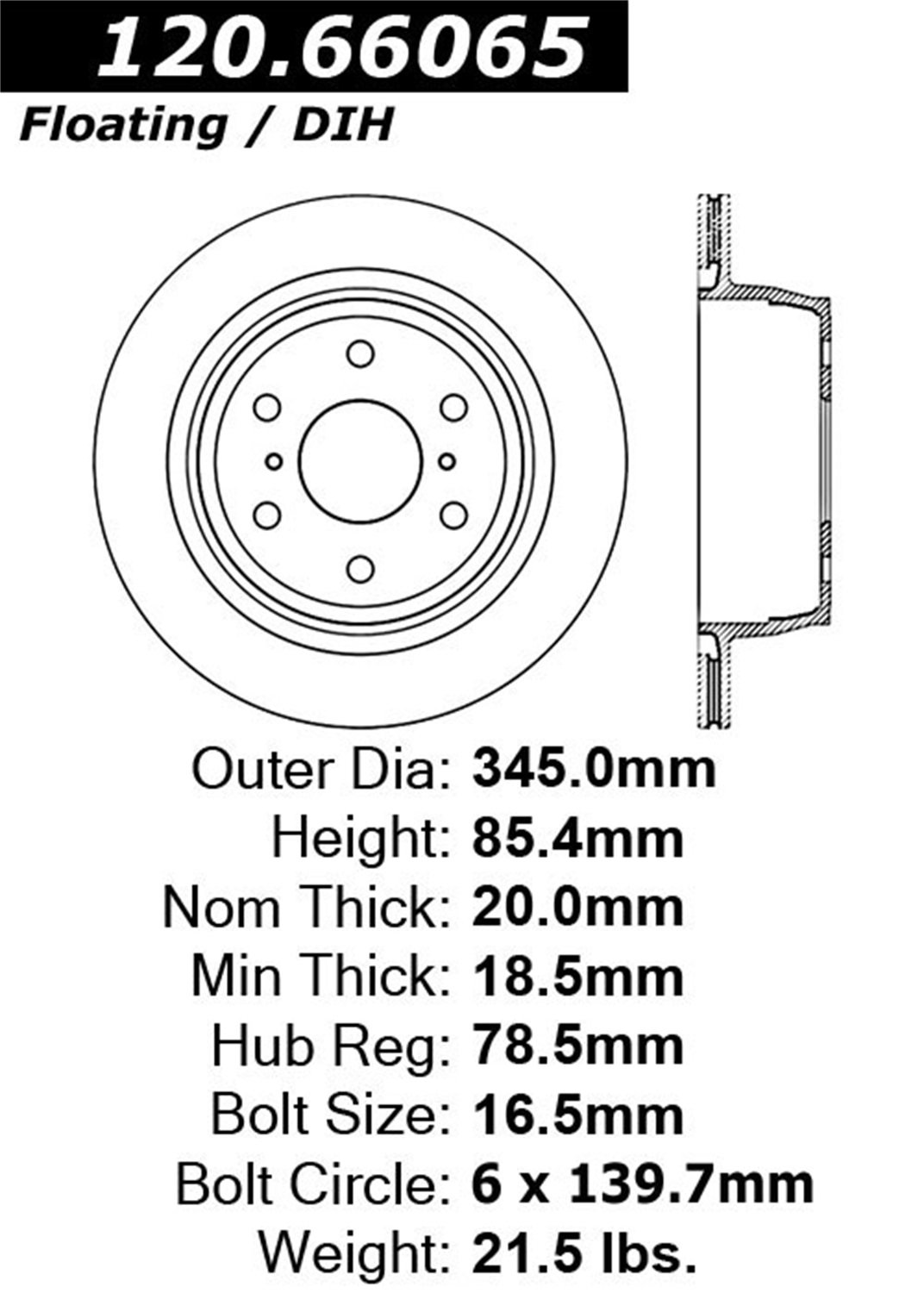 StopTech 127.66065L Sport Drilled/Slotted Rotor- Rear Left