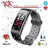 Bluetooth Smart Fitness Tracker Schrittzähler Wasserdicht mit Pulsmesser / Blutdruckmessung, Electronics Sport Pedometer Very Fit Pro für Herren Damen, Aktivitätstracker mit Touchscreen OLED Display Kompatibel für iOS / Android Handy von XiangWeiYu(Black and Grey)