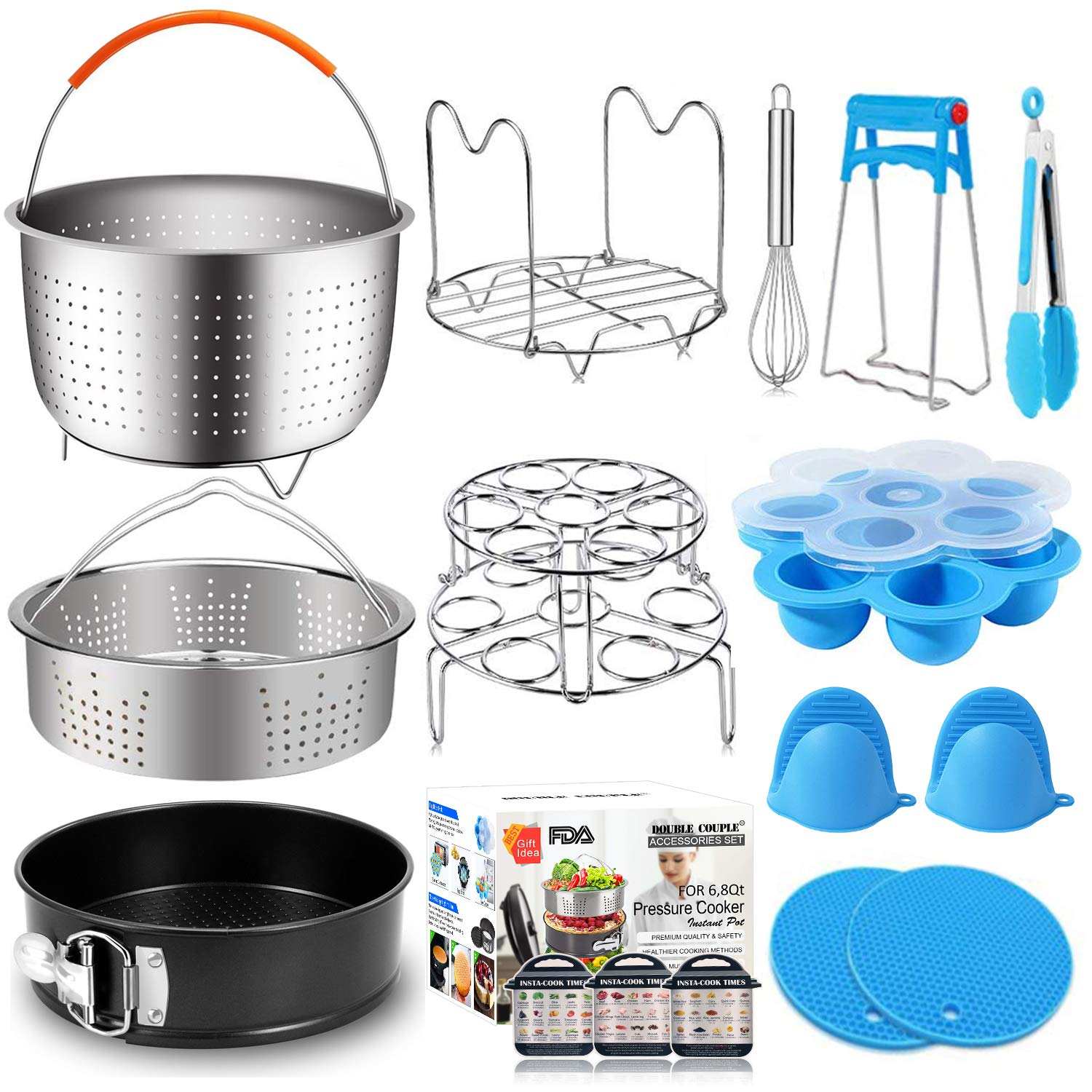 17 Pcs Instant Pot Accessories 6,8 Qt Pressure Cooker Accessories Steamer Basket, Springform Pan, Silicone Egg Bites Molds, Egg Steamer Rack