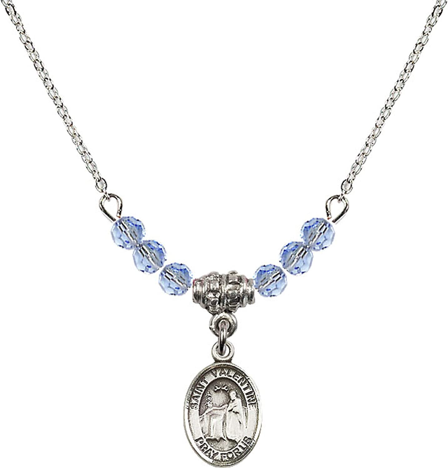 Bonyak Jewelry 18 Inch Rhodium Plated Necklace w// 4mm Light Blue September Birth Month Stone Beads and Saint Valentine of Rome Charm