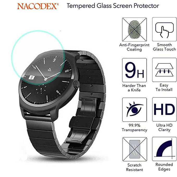 [2-Pack] Tic Watch 2 / TicWatch 2 / Tic Watch2 Smart Sport Watches Tempered Glass, Nacodex Premium Tempered Glass Screen Protector, 2.5D 9H ([2-Pack] ...