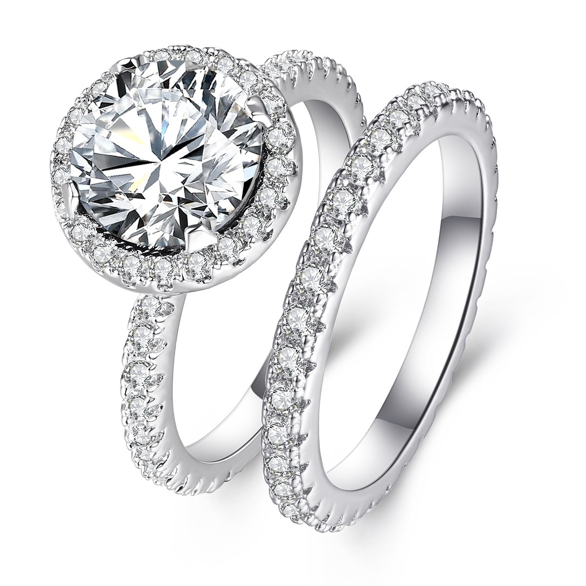 3 Carat Round CZ Solitaire Ring Set for Women, Halo Style White Gold Plated Size 7