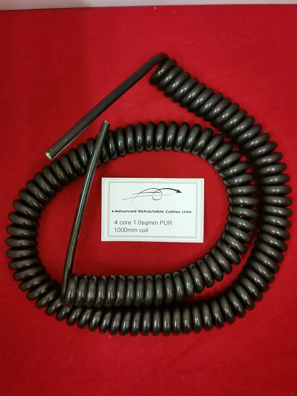 500mm COIL LENGTH *** *** 2 CORE 1sqmm COILED BLACK PUR CABLE