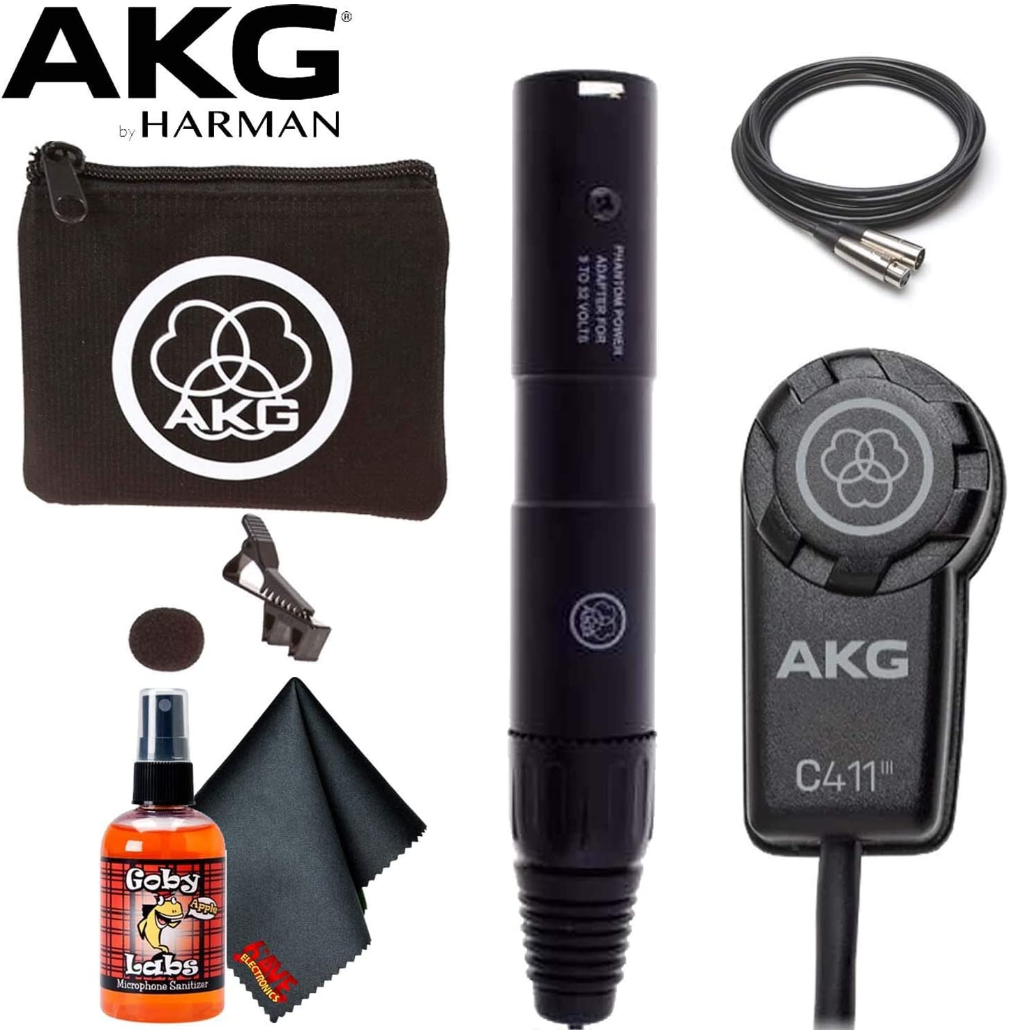 AKG C411PP Miniature Condenser Vibration Pickup Microphone for String Instrument