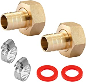 Minimprover 2PCS Lead Free Brass Water Hose Pipe Swivel Connector,5/8