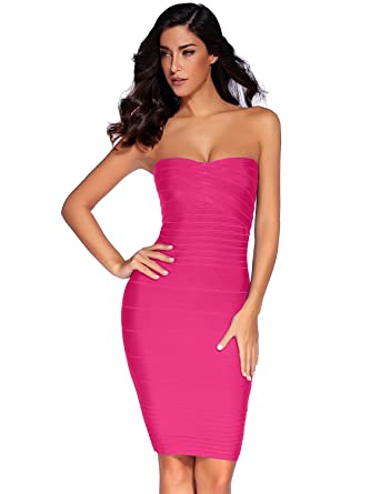 38f78a9e03d5 Meilun Women's Rayon Strapless Stretch Cocktail Bandage Dress X-Small Rose