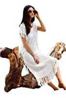 MG Collection White Cotton Resort Style Beach Dress Fringed Swimsuit Cover Up