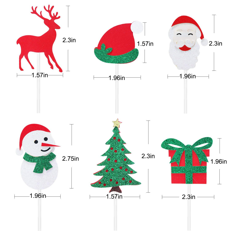 Christmas Cupcake Toppers.Christmas Cupcake Toppers Christmas Tree Santa Hat Gift Deer Snowman Cupcake Topper Christmas