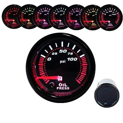 Dewhel Oil Press Pressure Gauge Universal Meter 7-Colors LED 52mm 12V 0-100 PSI W/sensor: Automotive
