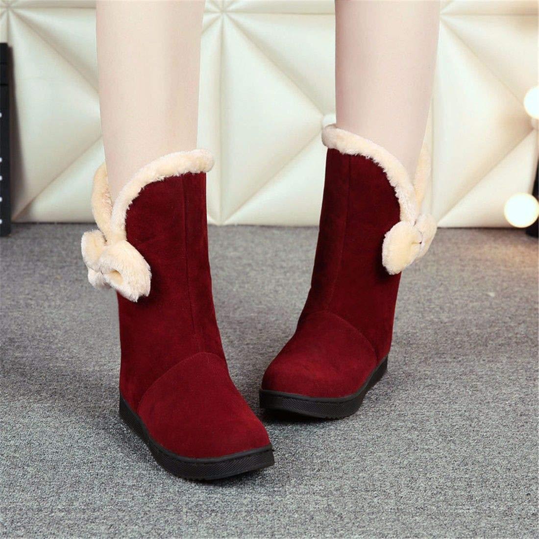 AIKAKA Frauen Herbst und Winter Europa und Amerika Sexy Sexy Amerika warme Schnee Stiefel Mid-Stiefel-Stiefel Baumwolle Schuhe c92f4e